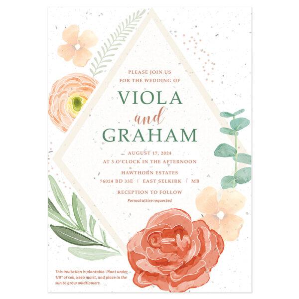 Floral wedding invitation design on seed paper.
