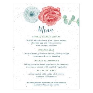 Floral menu card design on seed paper.