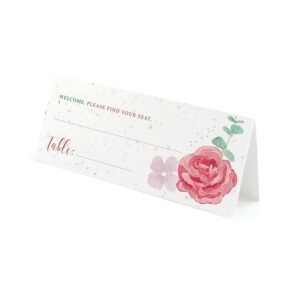 Floral place card design on seed paper.