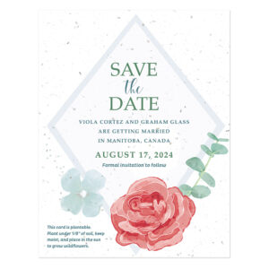 Floral save-the-date design on seed paper.