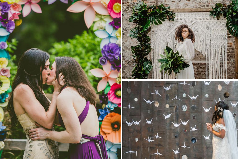 3 diy wedding backdrops: paper flowers, macrame hanging, origami birds