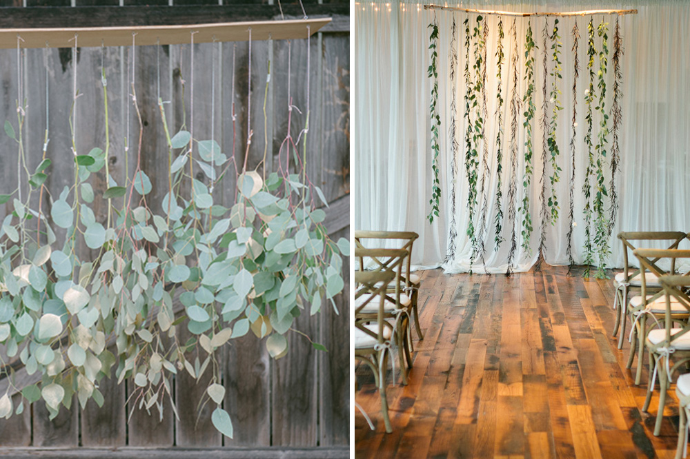 hanging eucalyptus DIY wedding backdrop