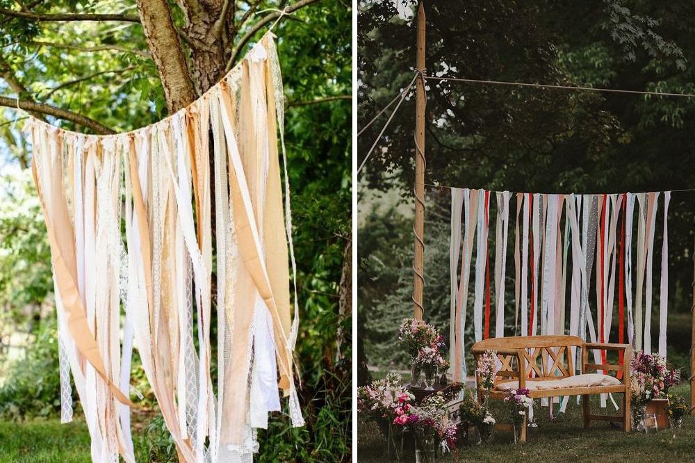 recycled fabric streamers DIY wedding backdrop