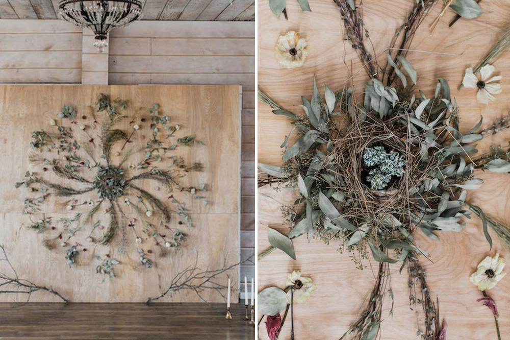 dried floral mandala DIY wedding backdrop