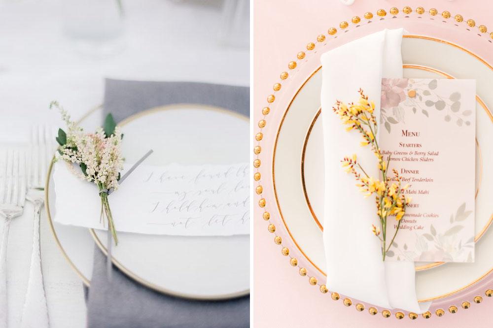 wildflower napkin fold wedding decor