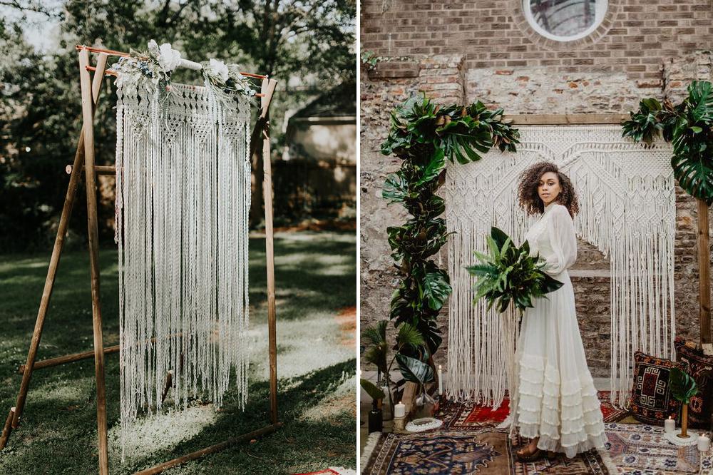 hanging macrame DIY wedding backdrop