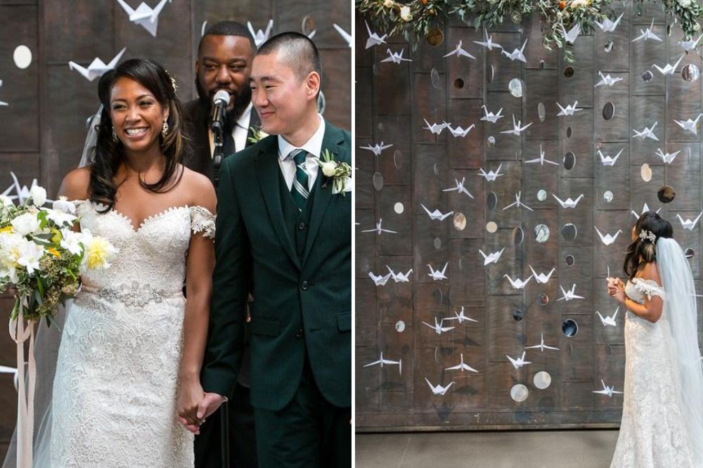 origami birds DIY wedding backdrop