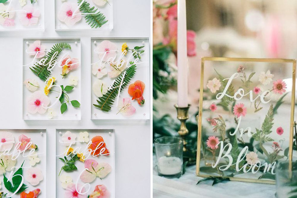 pressed wildflower wedding table numbers and signage