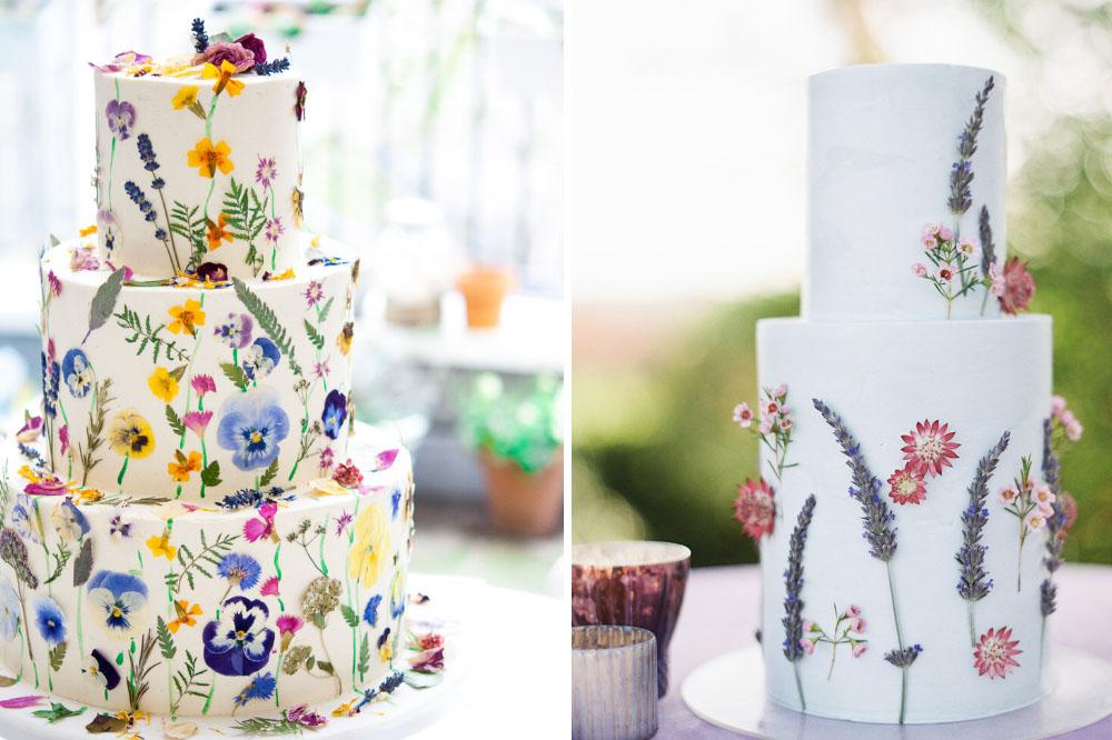 edible wildflower wedding cakes