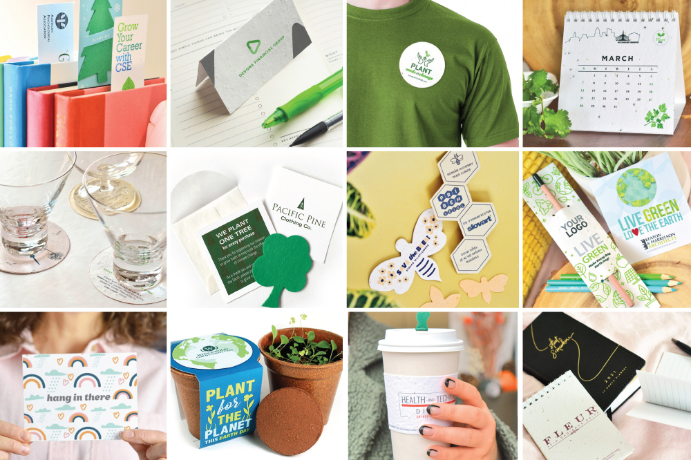 seed paper promotional product options from bookmarks to calendars to lapel pins to coffee sleeves and plantable pencils