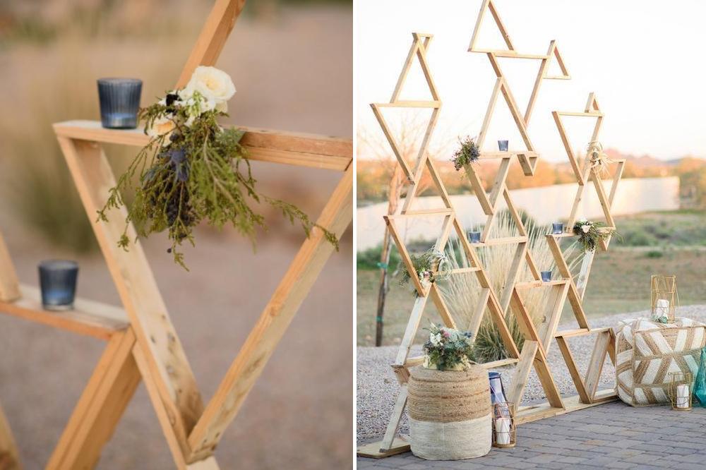 reclaimed wooden triangles DIY wedding backdrop