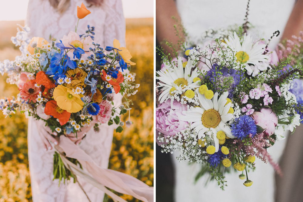 Wildflower bouquets with orange, blue, yellow, purple and pink blooms.