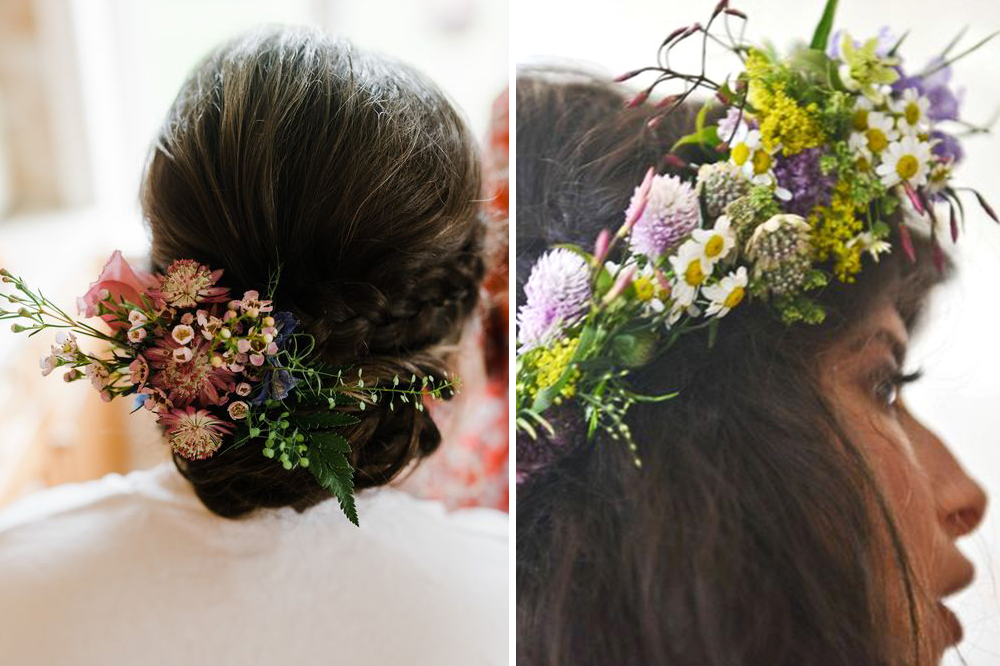 Wildflower Bridal Hairpiece clip and crown