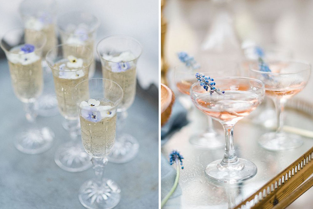 edible wildflower-topped wedding cocktails