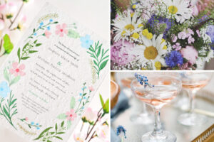 wildflower seed paper wedding invitations, wildflower wedding bouquet, and wildflower garnished wedding cocktails