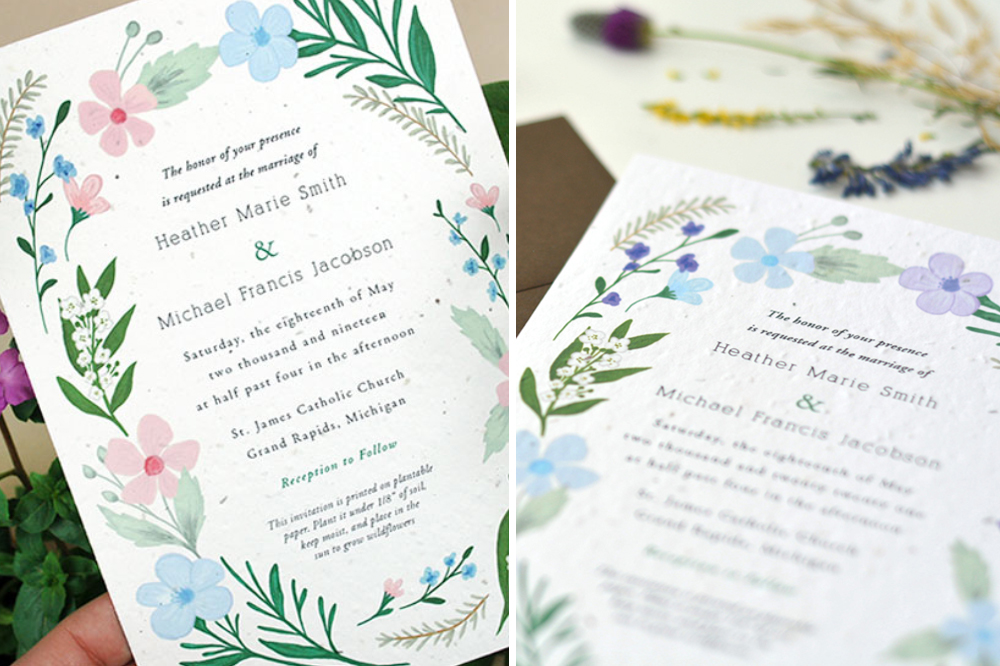 plantable seed paper wildflower wedding invitations from Botanical PaperWorks