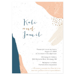 Artistic wedding invitation design with navy and peach colors shown on seed paper.