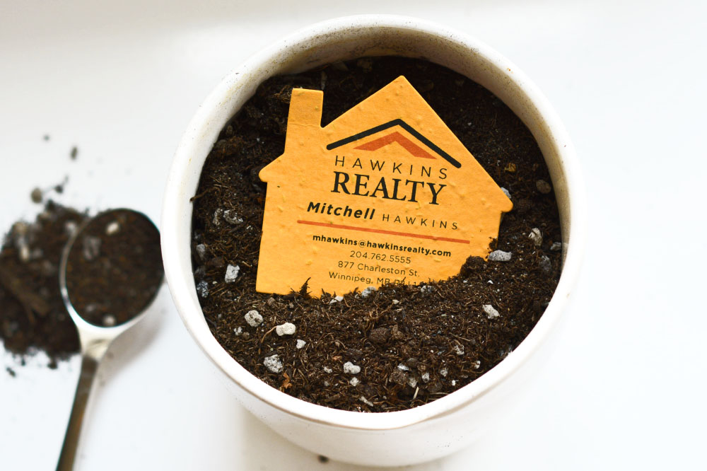 plantable seed paper house-shaped business cards for real estate
