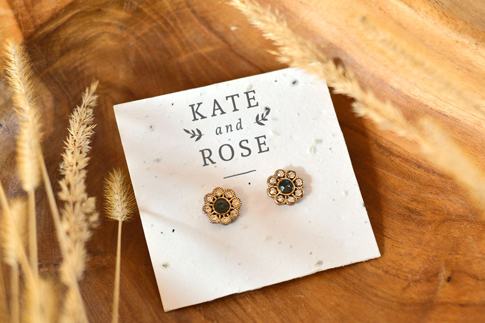 plantable, eco-friendly seed paper earring cards made out of recycled paper waste