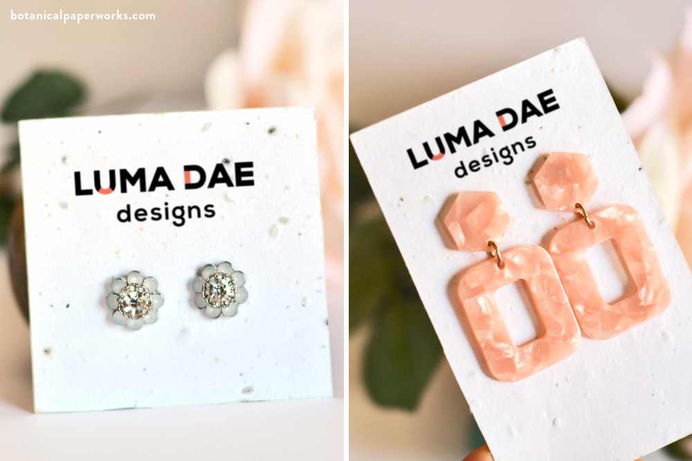 plantable, eco-friendly jewelry packaging: seed paper earring cards made out of recycled paper waste and non-GMO, non-invasive seeds.