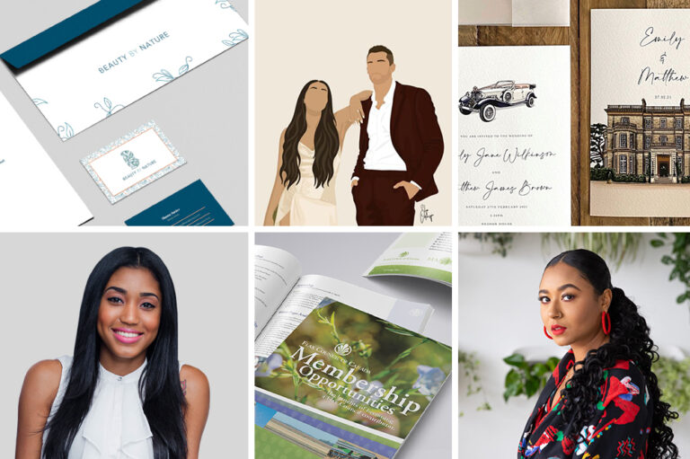 BIPOC graphic designers for business promotions and wedding illustrations