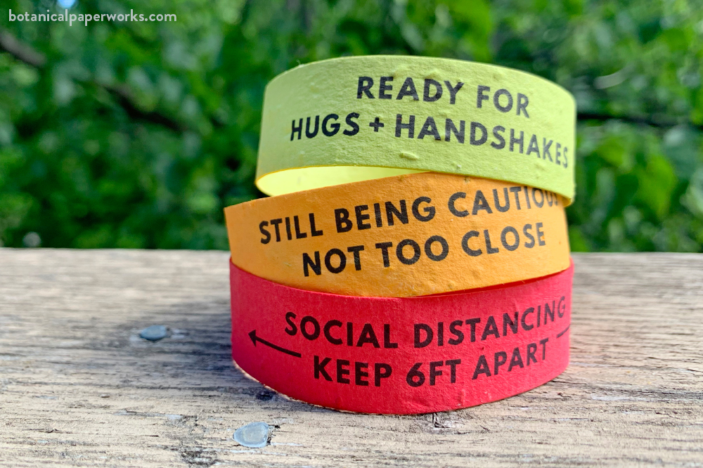 plantable seed paper wristbands for events with 3 options for social cues and social distancing
