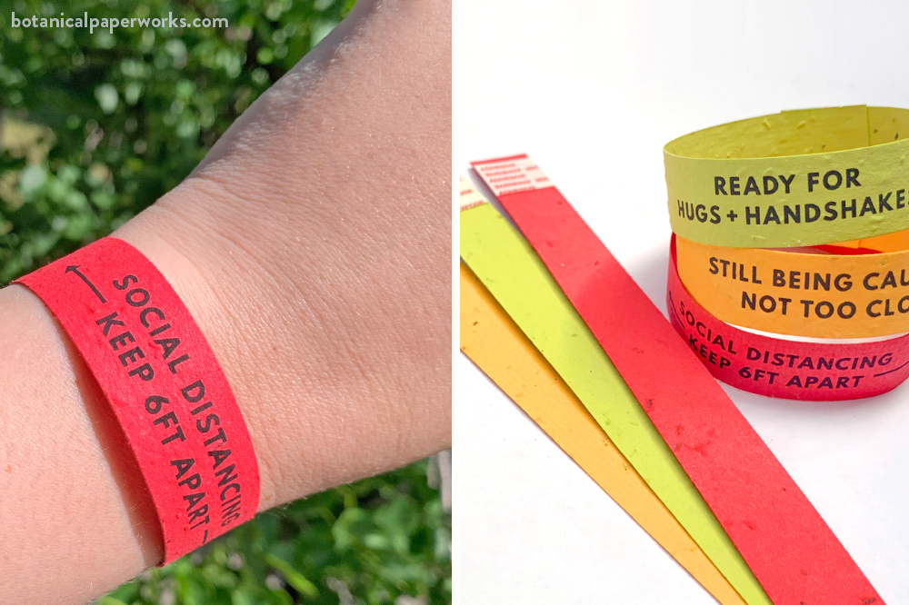 seed paper social distancing wristbands