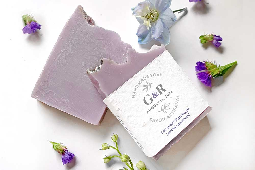 handmade soaps wrapped with seed paper