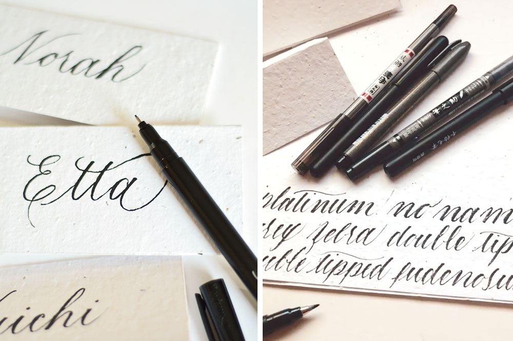 writing calligraphy on seed paper wedding place cards