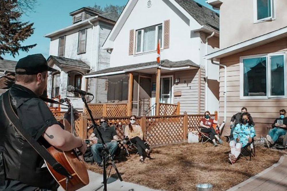 backyard concert at a person's house with attendees