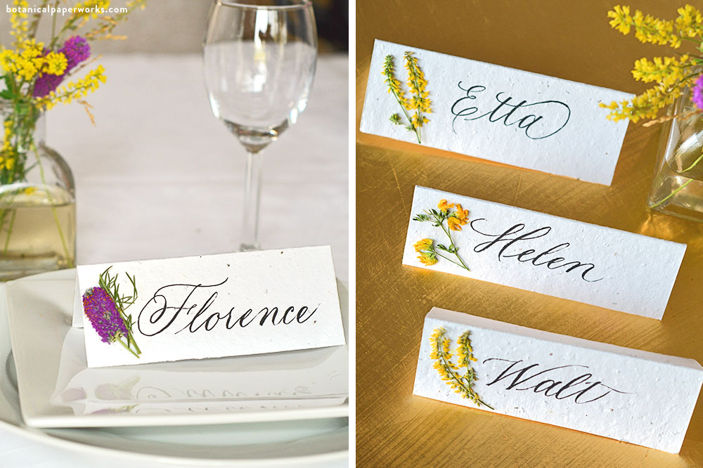 DIY wedding place cards with dried wildflowers on plantable seed paper