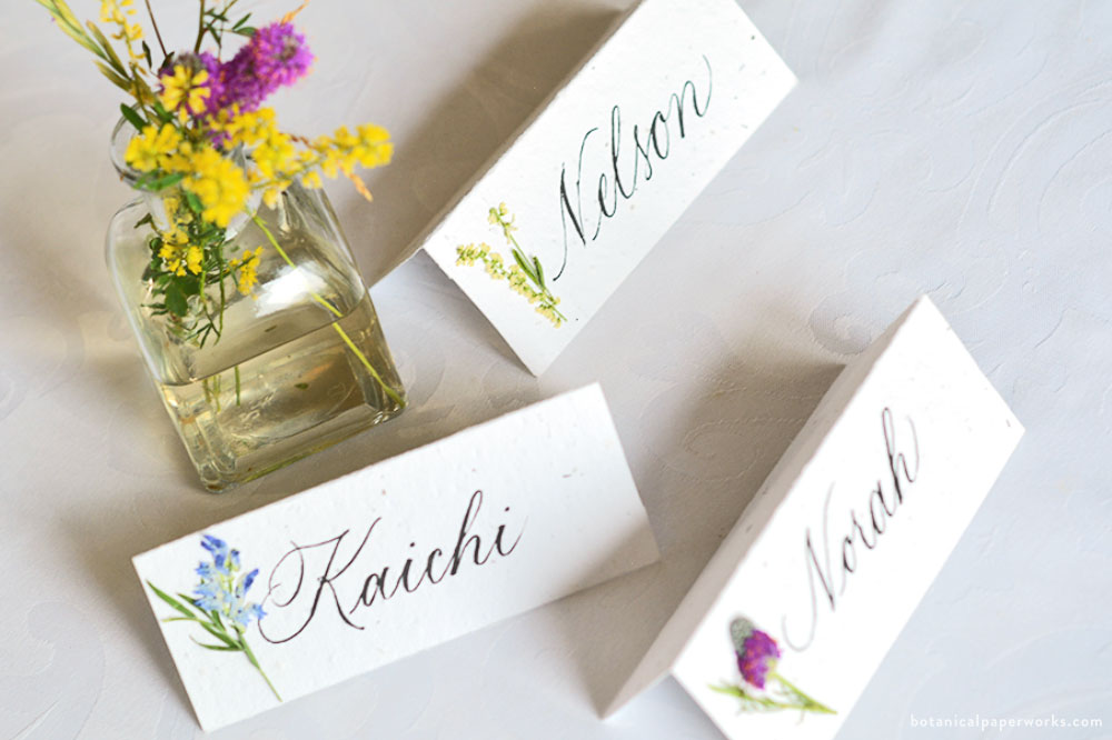 seed paper wedding place cards with pressed dried wildflowers
