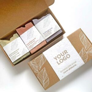 Branded soap gift sets showing your logo printed on the outside seed paper belly band.