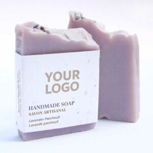 Photo of lavender pachouli handmade promotional soap with a seed paper logo you can add your logo to.