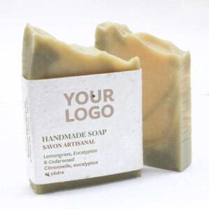 Photo of lemongrass handmade promotional soap with a seed paper logo you can add your logo to.