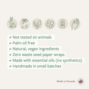 A list of features of Botanical PaperWorks handmade promotional soaps