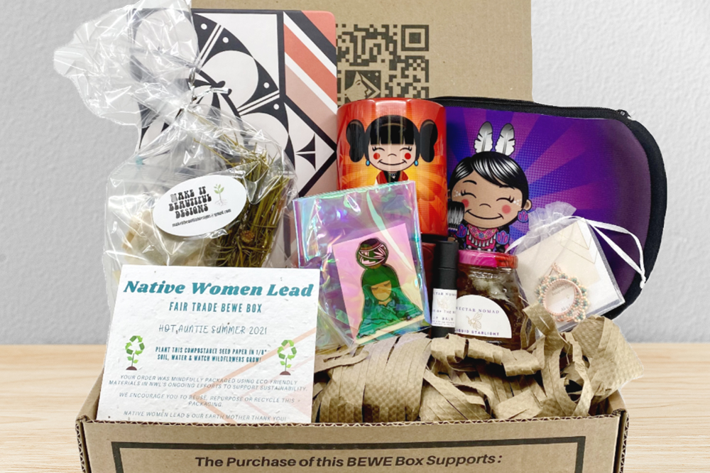 Native Women Lead's Fair Trade Initiative Summer 2021 BEWE Boxes with assorted gifts and seed paper thank you panel cards