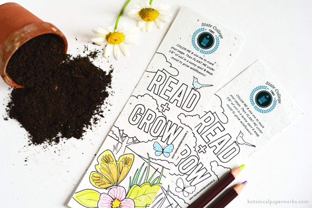 color-me plantable seed paper bookmarks for back-to-school promotions
