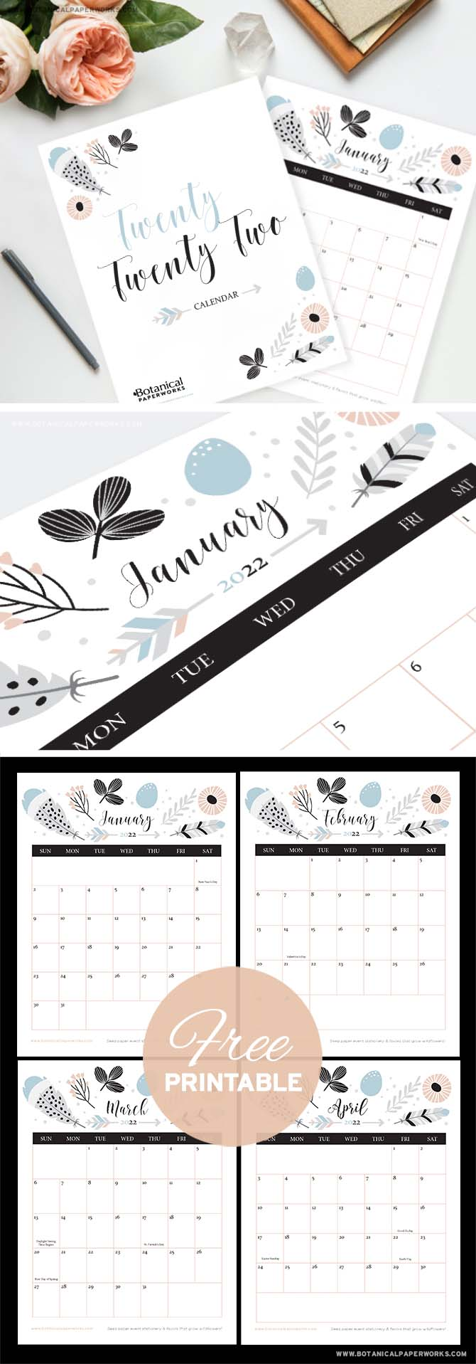 free printable 2022 calendars in a boho chic style