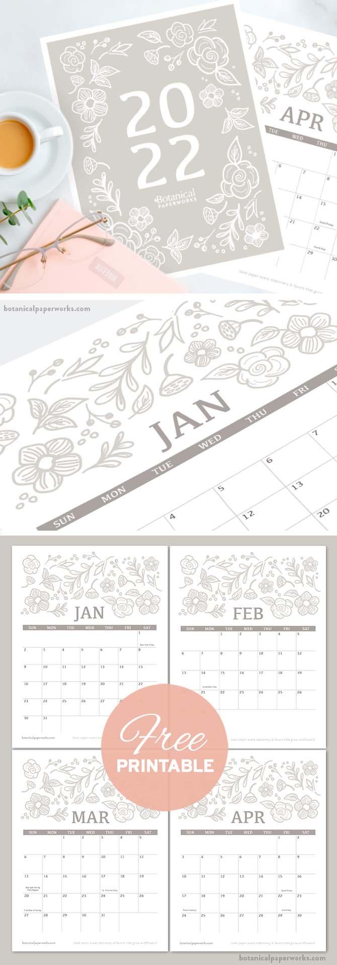 free printable 2022 calendars with a botanical design