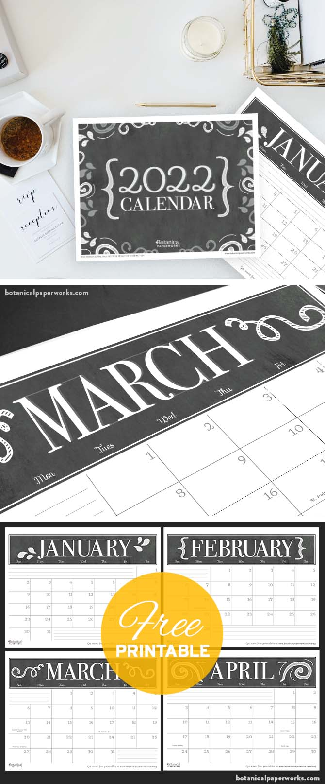 free printable 2022 calendars in a chalkboard style