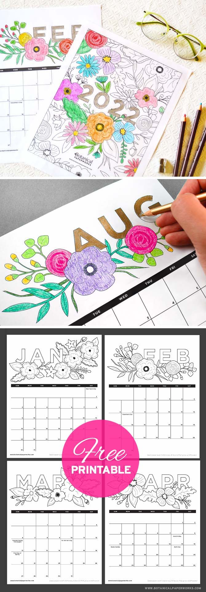 free printable 2022 calendars with coloring pages