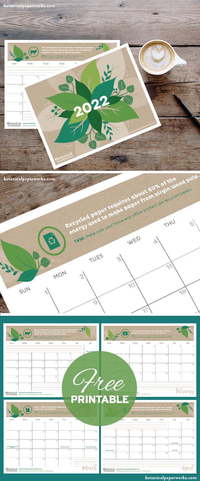 free printable 2022 calendars with eco-friendly tips