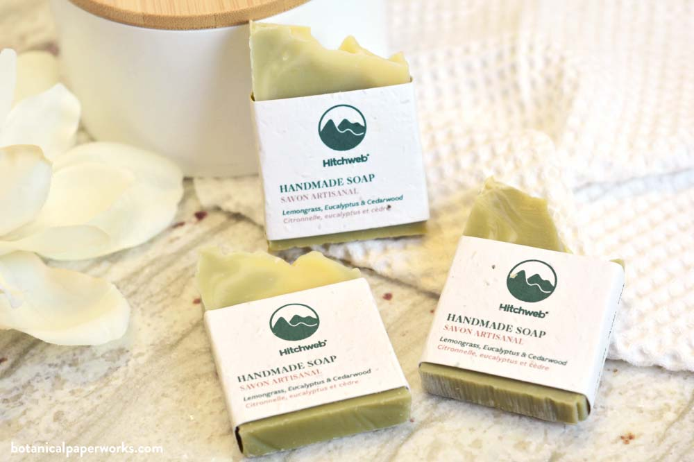 Hitchweb handmade promotional soaps wrapped in plantable seed paper