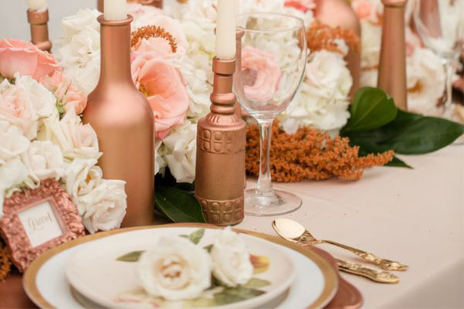 With a romantic and almost glow-like quality, metallic shades like #rosegold and copper are some of the most gorgeous details that you can include in your wedding and they're going to be huge for #wedding trends in 2016!