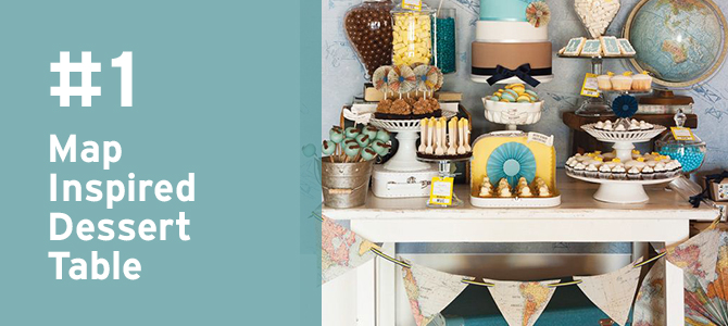 Use this map-inspired #dessert table for the #engagement party, bridal shower or the #destinationwedding itself! Take a look at MORE travel details for destination weddings here.