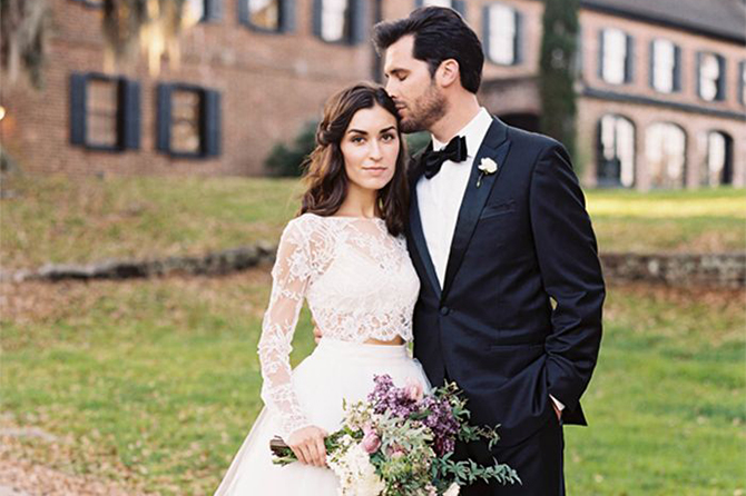 Perhaps the most modern style for #bridal attire, the two-piece #wedding gown is one trend that's dominating 2016 wedding runways, bridal blogs and wedding magazines. See more of our favourite wedding trends for 2016!