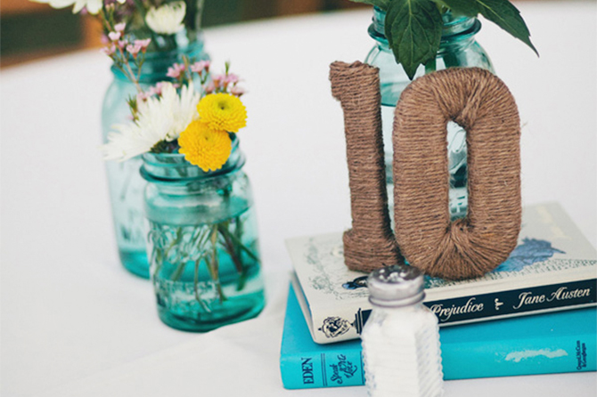 Wrap some DIY Table numbers in twine for a textured table number with a rustic feel.