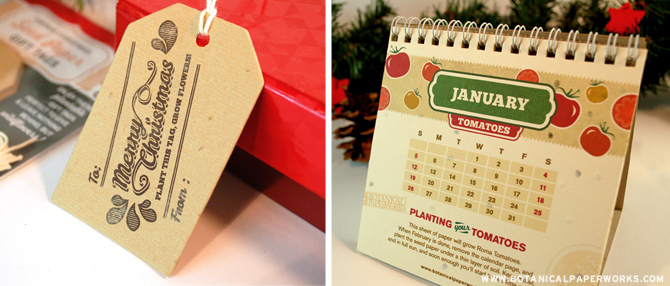 Included in the 12 Weeks of Christmas Giveaway are these adorable vintage seed paper tags and a 2014 Grow-A-Garden Calendar