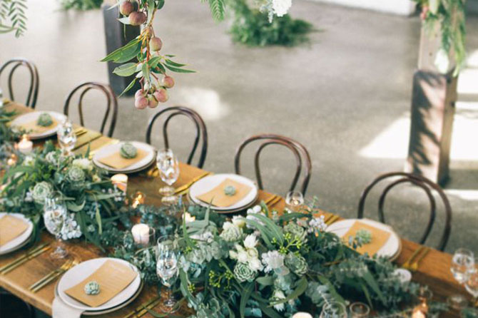 As one of the biggest trends for #weddings in 2016, lots of #brides have been swapping traditional florals with foliage, herbs, ivy and succulents for their tablerunners, wedding favors, candle accents and even their bouquets!